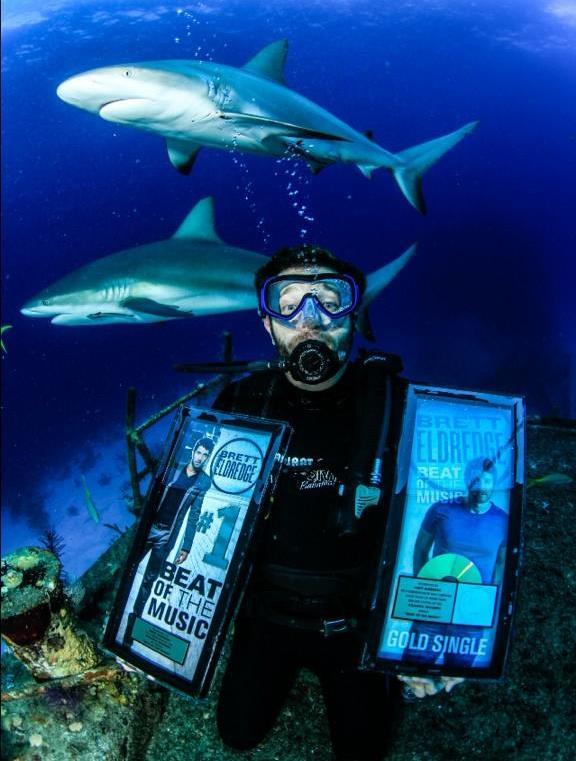 Brett Eldredge swims with sharks - Photo via Twitter