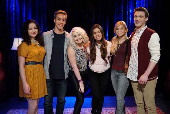 (L-R) Sarah Gilman, Austin North, RaeLynn, Piper Curda, Olivia Holt, Peyton Clark Photo Credit: ©(Disney Channel/Eric McCandless)