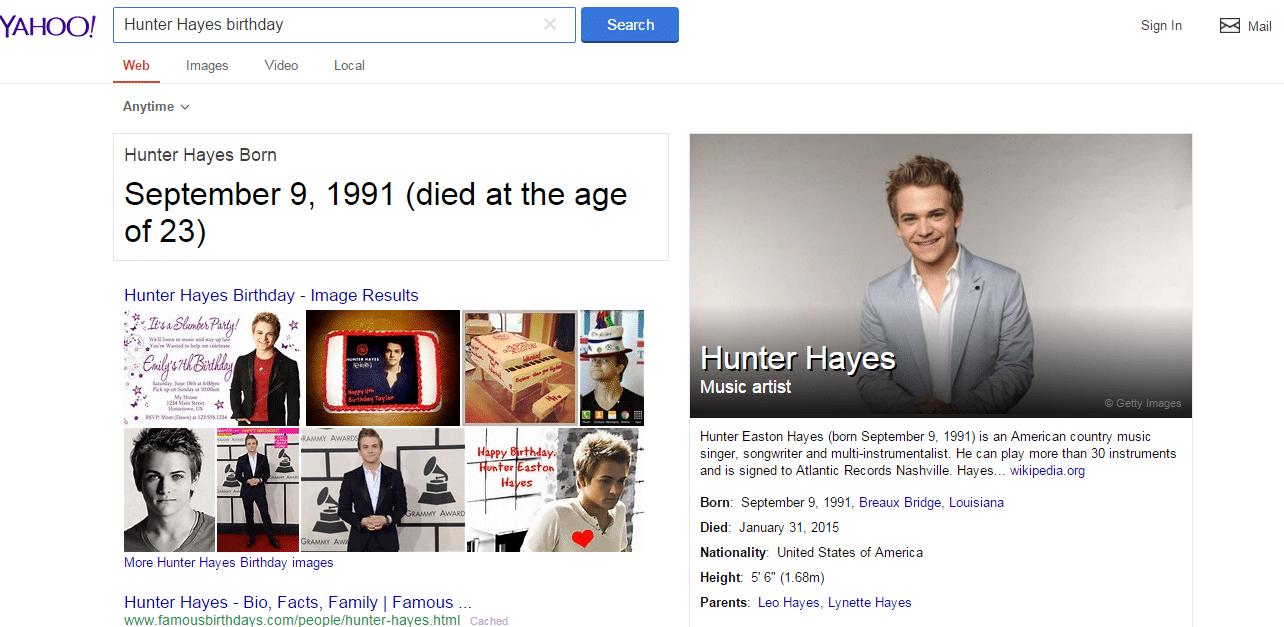 Yahoo killed Hunter Hayes