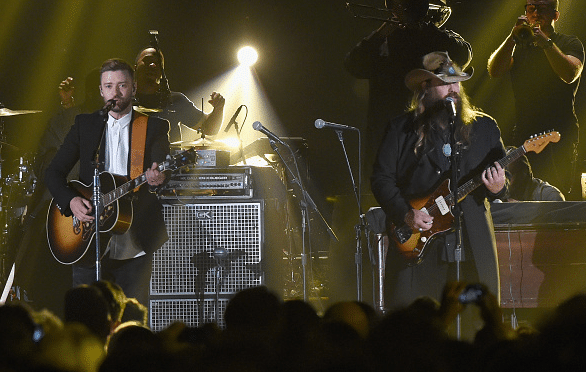 Chris Stapleton and Justin Timberlake perform at the CMA Awards