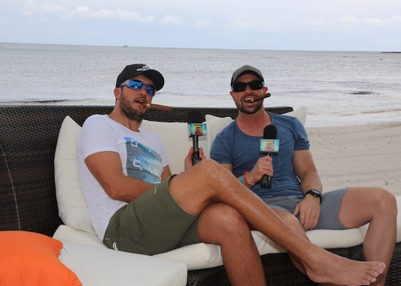 Luke Bryan and Cody Alan enjoy a cigar. Image: Instagram/CMTCody