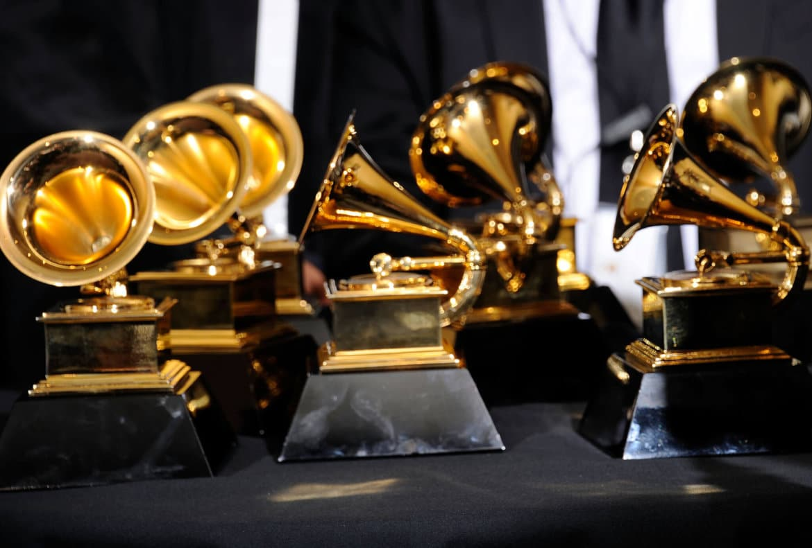 LOS ANGELES, CA - FEBRUARY 12: A detailed view of the GRAMMY awards in the press room at the 54th Annual GRAMMY Awards at Staples Center on February 12, 2012 in Los Angeles, California. (Photo by Kevork Djansezian/Getty Images)